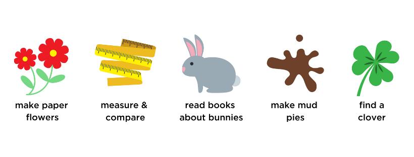 flowers, measure, compare, bunny, mud, clover