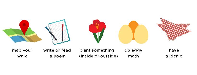 maps, poems with kids, gardening, picnics, egg math
