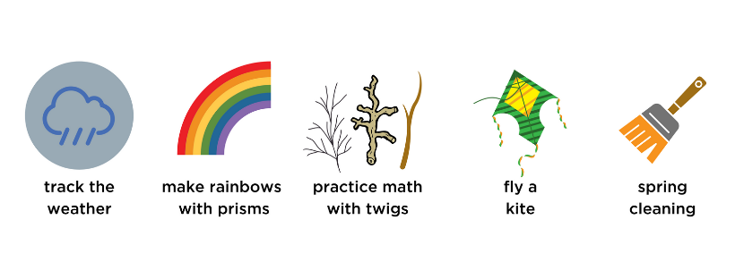 weather, rainbow, prisms, twigs, fly a kite, spring cleaning
