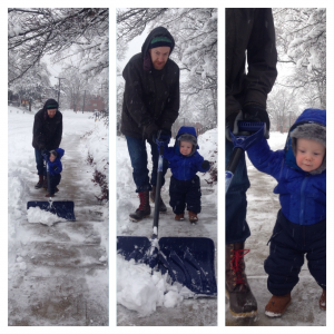 play outside winter toddler shovel snow play