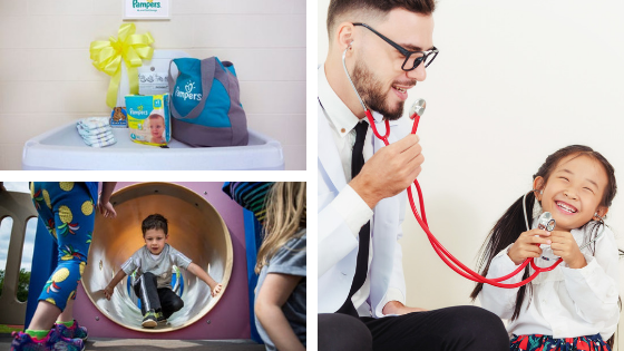 A collage of images containing children playing in slide, a child pretending to be a doctor, a Pampers diaper set