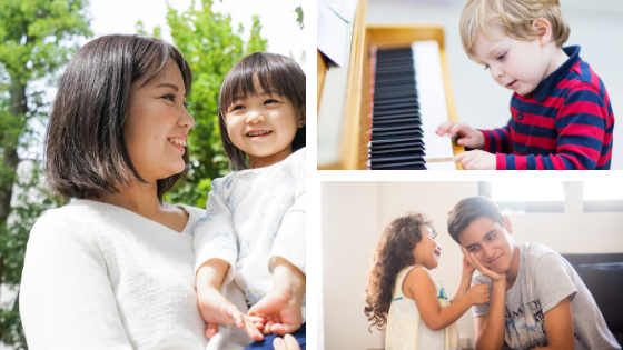 A collage of images containing a mom holding child, a child playing piano, and siblings playing together