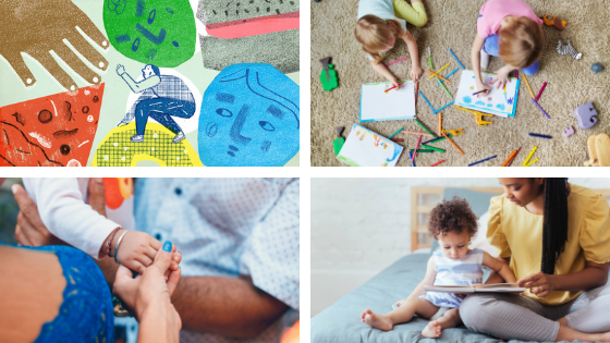A collage of images depicting children coloring, child artwork, a baby holding adults hand, and mom reading to child.