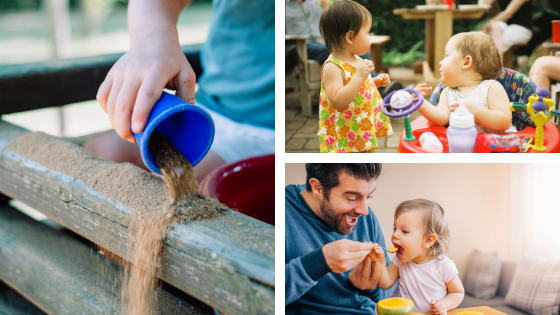 A collage of images containing a child playing with dirt, babies playing together, and a parent and baby playing